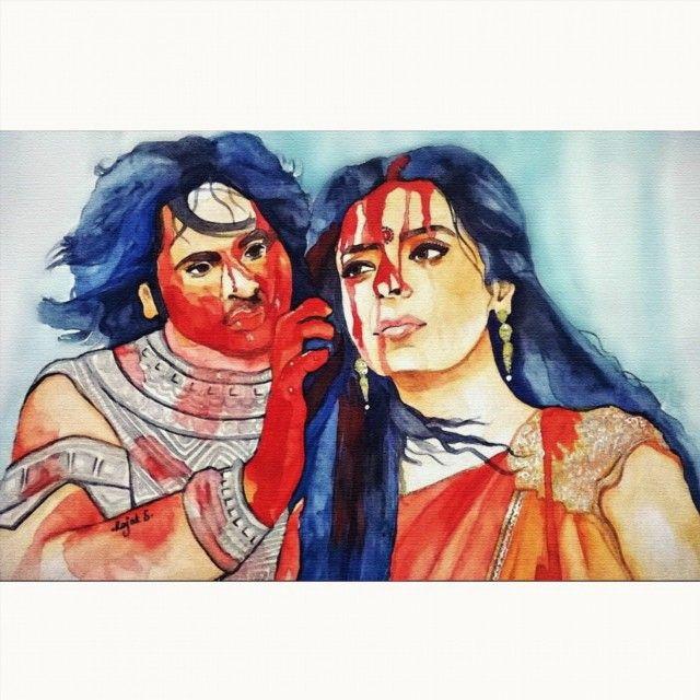 Draupadi an Bheema(Mahabharata) After the attempt at disrobing (rape)Draupadi by Dusshasan, Bheema had promised to kill him and drink his blood