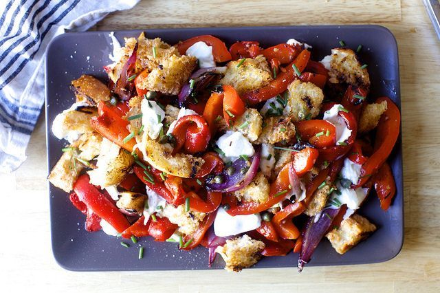 Grilled Pepper and Torn Mozzarella Panzanella // country bread croutons, grilled red bell peppers, grilled red onion, sherry vinaigrette, mozzarella, herbs, capers