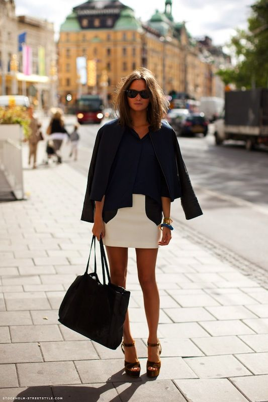 "such a great look .... sadly, ""work wardrobe"" rules call for a more conservative skirt length"