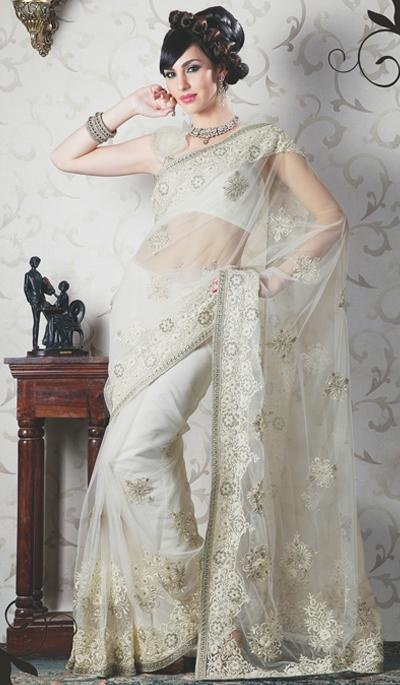 Price : 5256 INR;   Product Code	:	G3-LS5081;   Product Name	:	White Net Embroidered Wedding Saree
