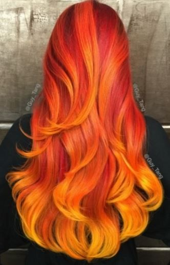 Wavy Red, Orange, & Yellow Ombre♡ #Hairstyle #Dyed_Hair #Beauty