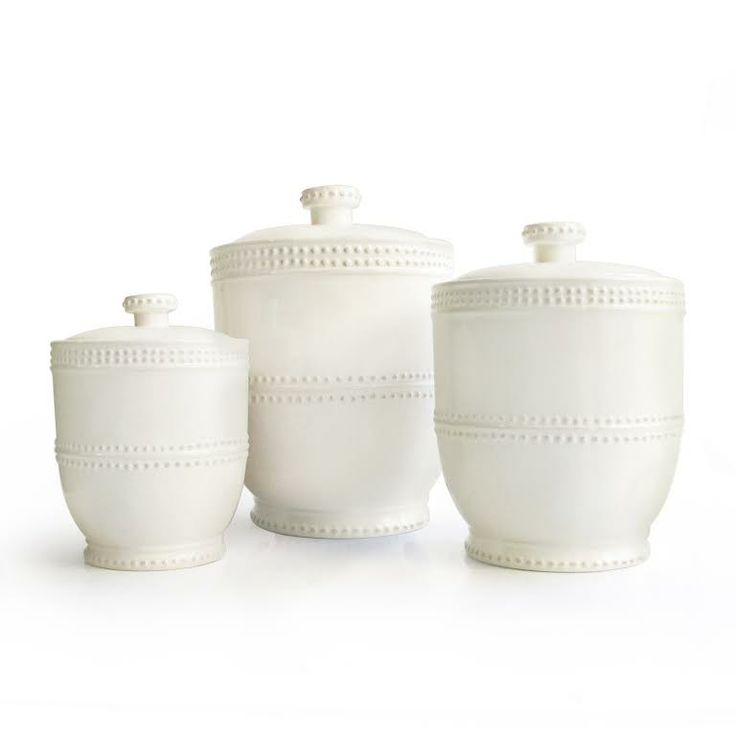 Bianca Bead 3 Piece Canister Set In Soft White Almost Cream Colored 3 Piece  Ceramic Canister