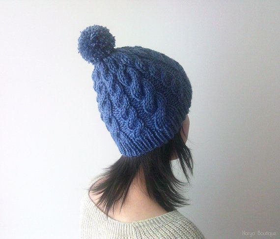 Chunky Cable Beanie in Indigo Knit Hat with Pom by naryaboutique