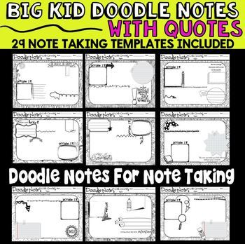 Doodle notes are all the rage for any subject. There are lots of doodle notes available for specific subjects and topics, but these are blank templates that can be incorporated into any subject and used with any topic. They have a fun doodle theme, which is so much more motivating than a piece of notebook paper or plain white copy paper.
