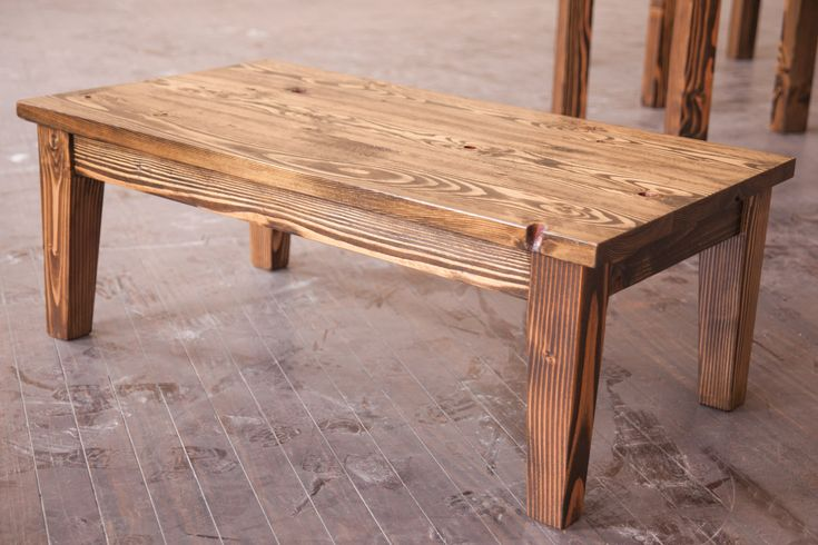 4 Farmhouse Coffee Table With Tapered Legs Stained Dark Walnut Distressed Top For