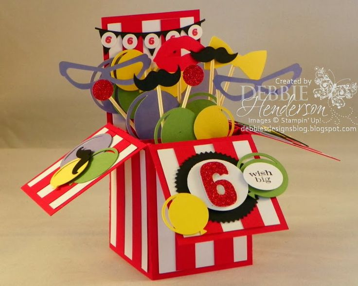 """My Granddaughter's """"Circus"""" Themed Birthday Party. Pop Up Card Box. Stampin' Up! supplies & Silhouette Cameo Cutting Machine by Debbie Henderson, Debbie's Designs."""