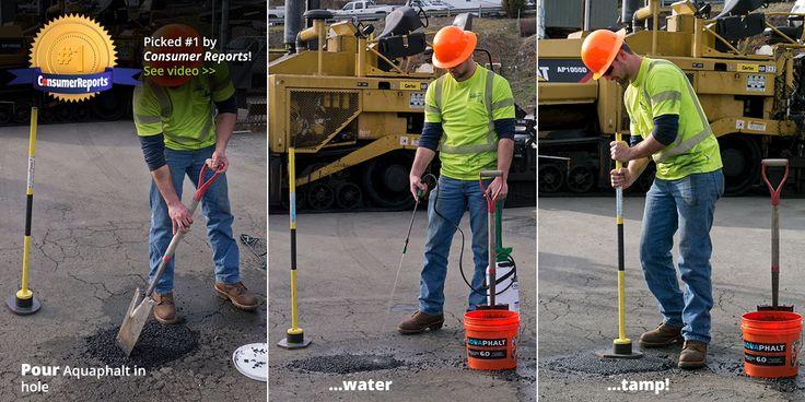 Aquaphalt — Pothole repair, cold patch, permanent asphalt repair, asphalt patch, pothole patch, driveway patch, Virginia