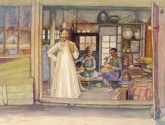 식당 풍경 Elizabeth Keith, 1887-1956--paintings of old Korea
