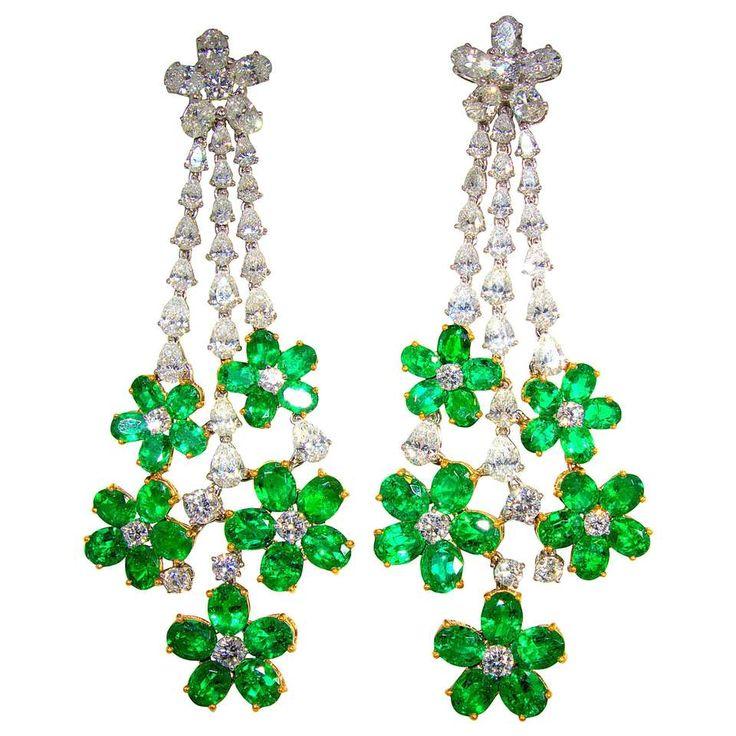 Pendant Style Emerald Diamond Gold Earrings Period 2015