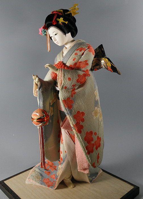 Tall Japanese Maiko Geisha Doll Holding Ball