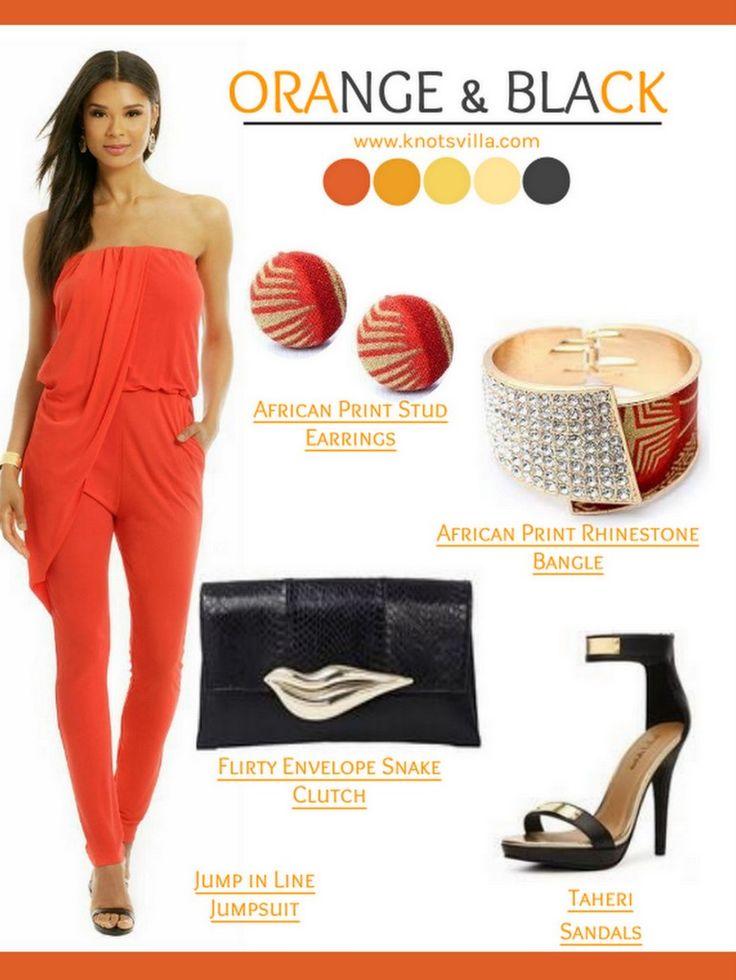 Wedding Look: Orange and Black with African Print - KnotsVilla