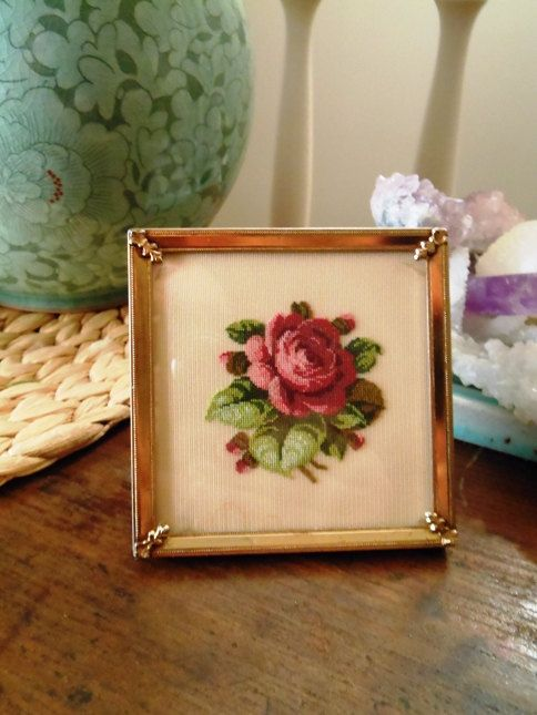Vintage Petit-point Needlework Red Rose in Standing Frame from 1960s
