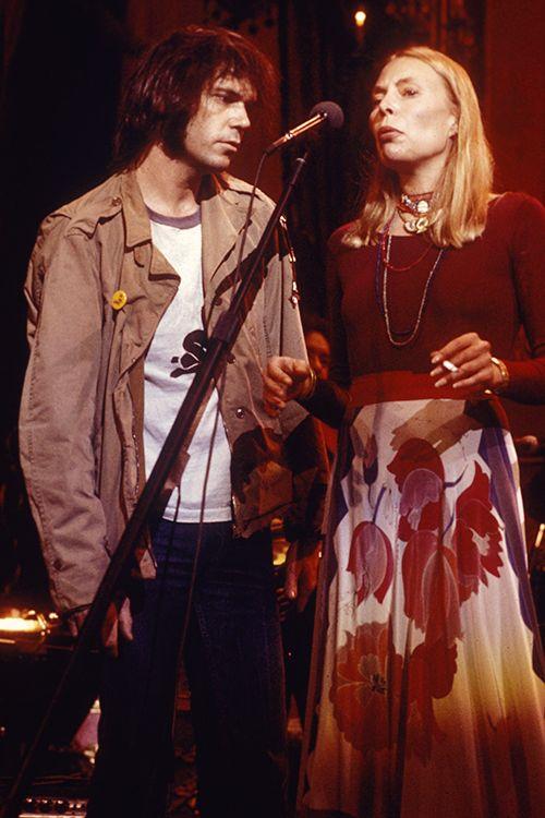 "satya-: "" "" Neil Young & Joni MItchell "" "" The Last Waltz, November 25, 1976, at Winterland Ballroom in San Francisco."