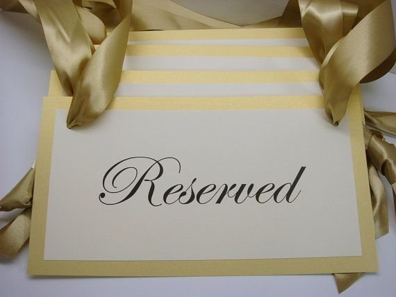 Reserved Wedding Ceremony Pew Signs for your Family Seating During Your Wedding…