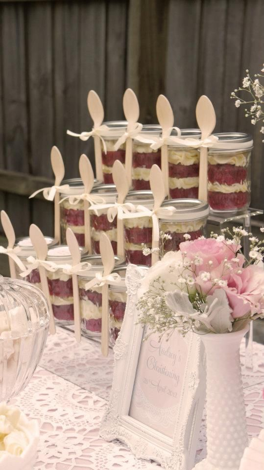 cake in mason jars...pre  portIoned out and spoon attached with ribbon