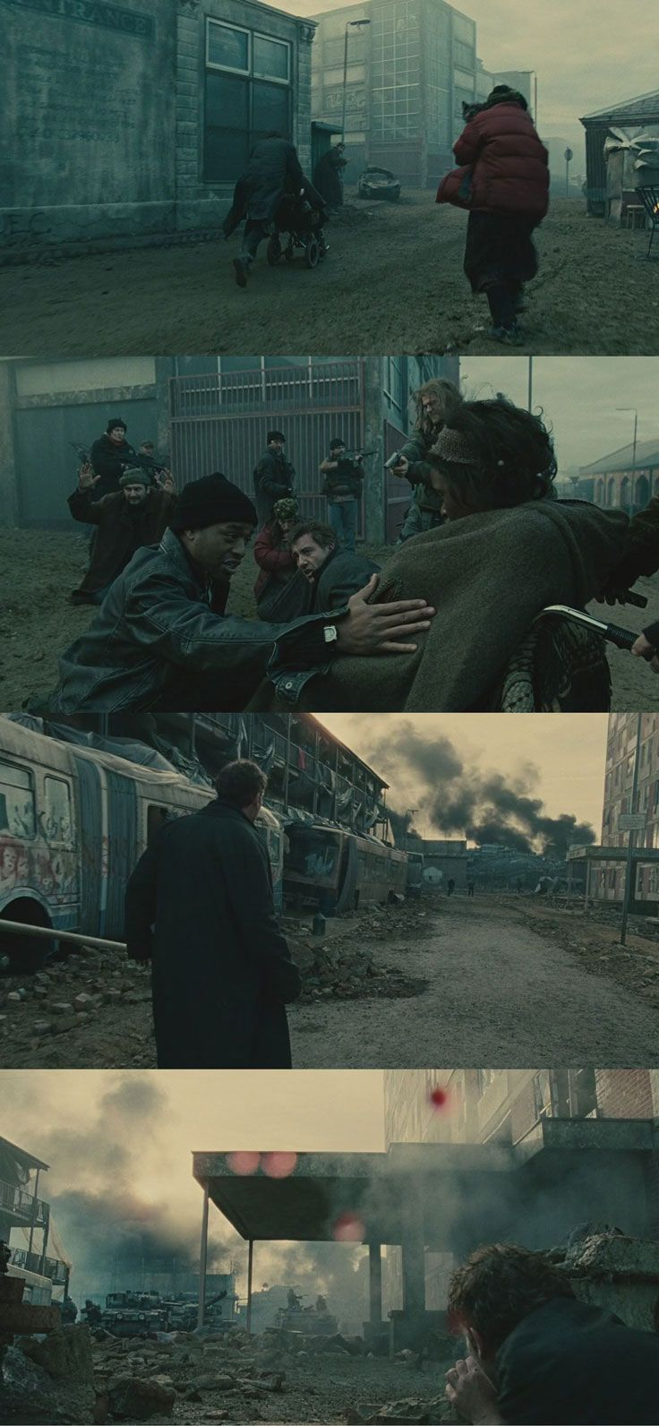 One of the best single-shot sequences in movie history: the 6-minute Uprising scene in Children of Men (2006). Cinematography by Emmanuel Lubezki.