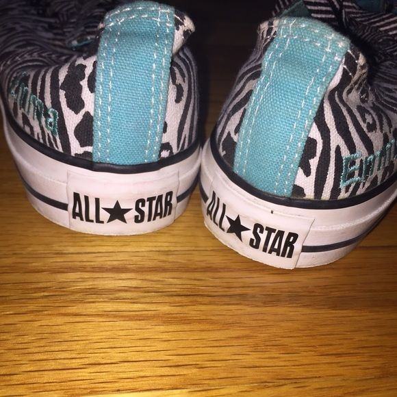 """Custom made converse all stars with """"Emma"""" on side Custom made converse, only worn a few times if at all. I am not sure how much to sell them for so send me offers that you think are good! I will have them cleaned before the are sent out! Converse Shoes"""