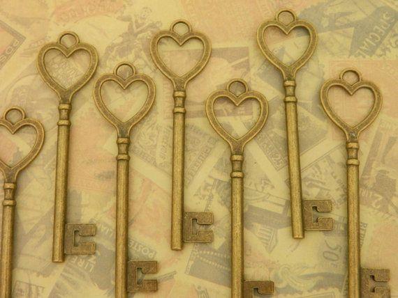 10Big tasti di scheletro vecchio stile ciondolo chiave matrimonio arredamento arte e artigianato gioielli forniture bronzo vintage vittoriano chiave steampunk clés anciennes