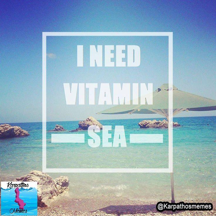 I NEED VITAMIN SEA   #karpathos #memes #karpathosmemes #greek #quotes #island #vitamin #sea #need #umbrella #beach #sun #relax #amopi #mikri