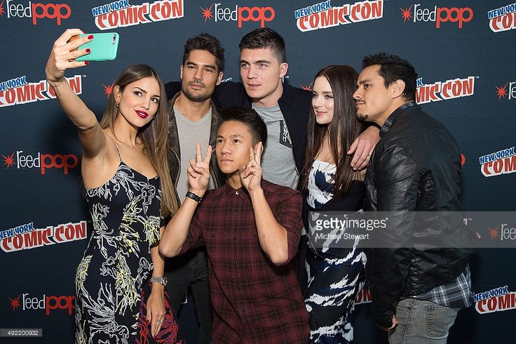 (L-R) Actors Eiza Gonzalez, D.J. Cotrona,  Brandon Soo Hoo, Zane Holtz, Madison Davenport and Jesse Garcia pose in the press room for Marvel's 'From Dusk till Dawn: The Series' during New York Comic-Con Day 3 at The Jacob K. Javits Convention Center on October 10, 2015 in New York City.  (Photo by Michael Stewart/Getty Images)