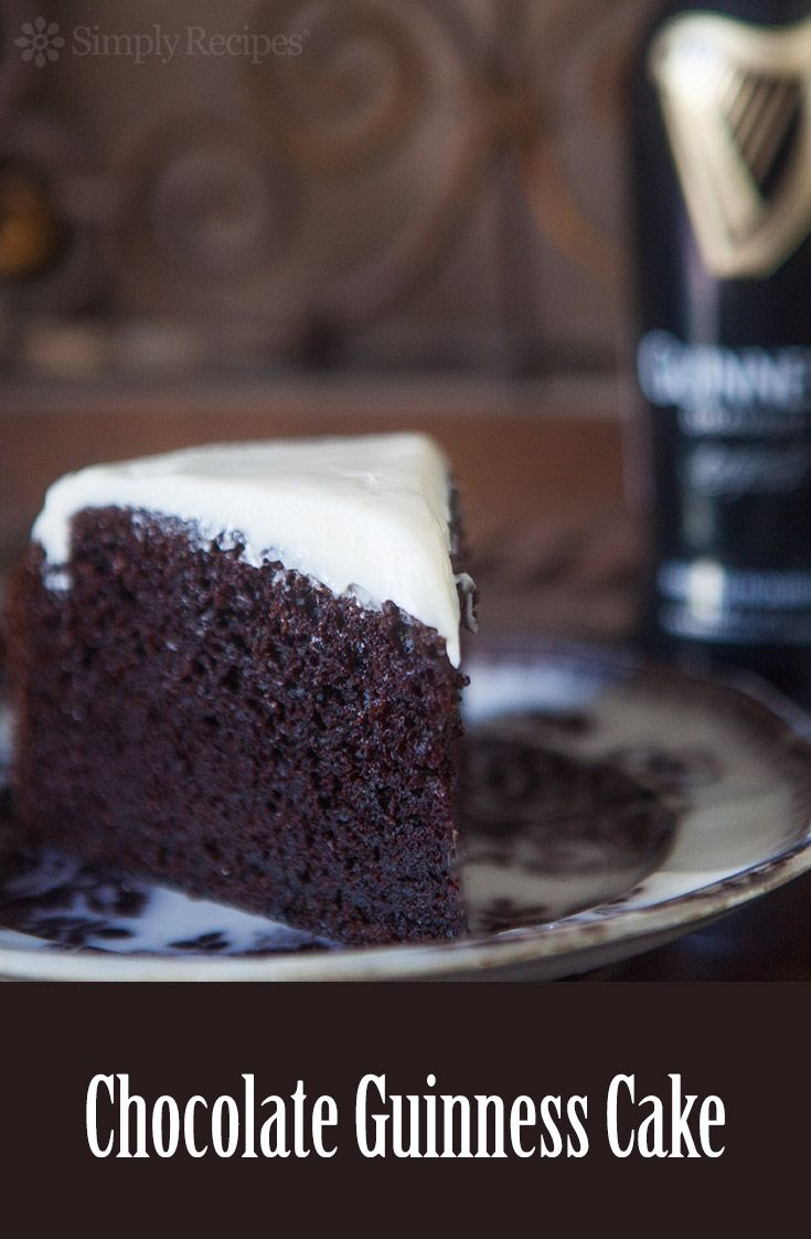 Chocolate Guinness Cake ~ Rich, moist, chocolate cake spiked with stout beer. Malty, sweet, and perfect for a St. Patrick's day party!  ~ SimplyRecipes.com