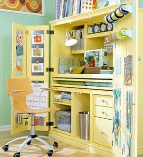 Craft armoire - not this color, but getting ideas for organization