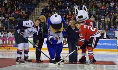Niagara Ice Dogs 'Bones' and his new buddy 'Tipster' from Crime Stoppers Niagara!