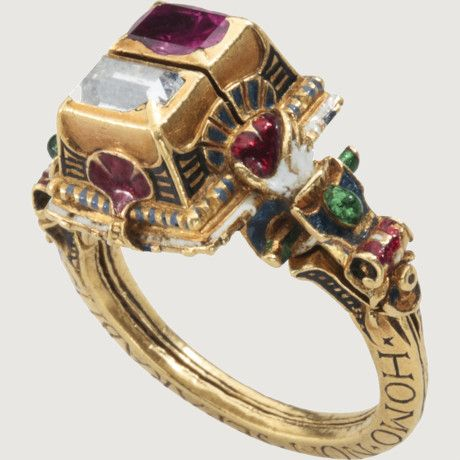 RENAISSANCE GIMMEL RING WITH MEMENTO MORI. Germany, dated 1631. Gold, enamel, diamond and ruby. [My goodness, that's goegeous!]