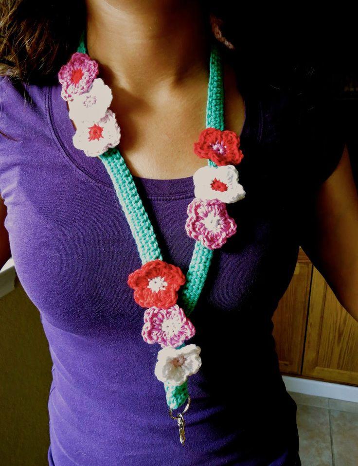 Crochet Flower Lanyard Free Pattern Hook And Yarn