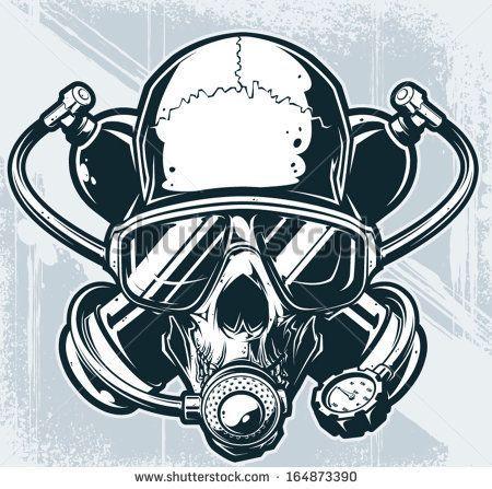 Deep Down - Skull in Diver Down Flag   Dive tattoo   Pinterest ...