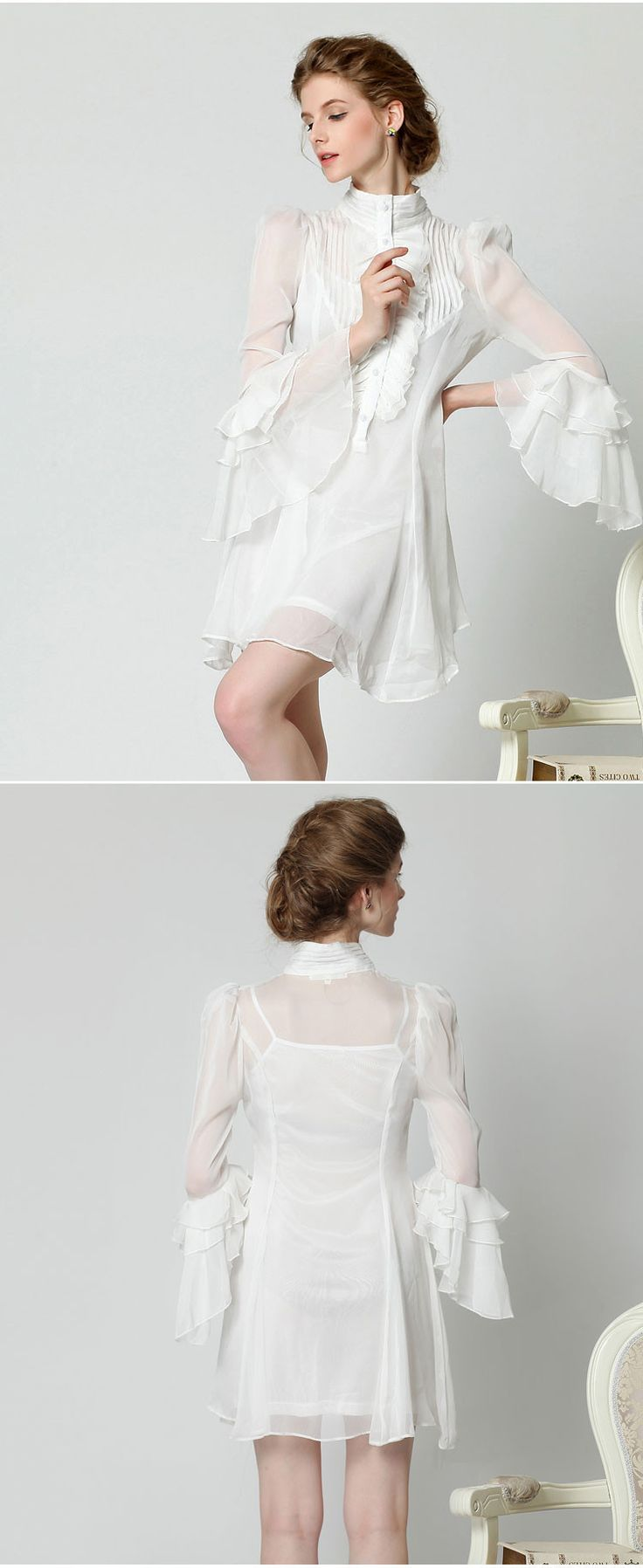 Great Nice Unique Sexy Women Slim Fit Ruffle A Line Long Butterfly Sleeve Knee Length White Chiffon Two Pieces Set Dress-in Dresses from Women's Clothing & Accessories on Aliexpress.com | Alibaba Group