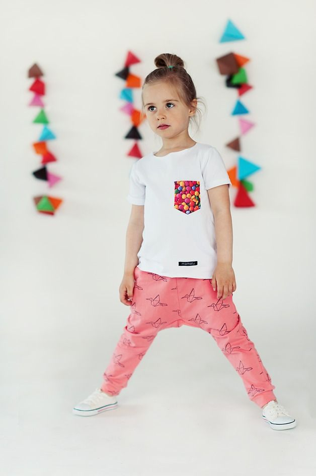 Children's clothing – Casual Trousers made of cotton in Birds pattern / coral/pink – a unique product by mamatu via en.DaWanda.com