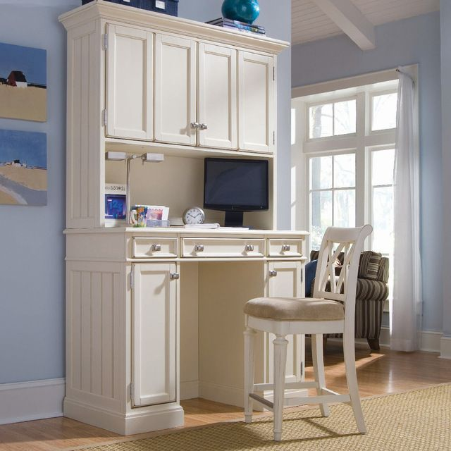 American Drew Camden-Light Home Work Station w/ Barstool in White Painted transitional-home-office-accessories