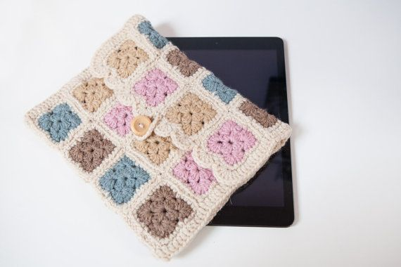 Colourful crochet granny square iPad case iPad cover by SweetMaya