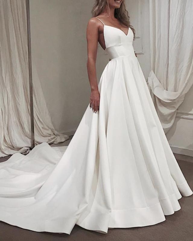 4f7a069b8c Spaghetti Straps V-neck Empire Satin Wedding Dresses in 2019