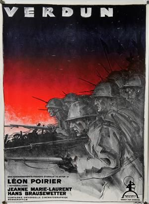 Graphic arts - Sven Brasch. Vintage Danish film poster for the war film 'Verdun' (Frankrig 'Verdun, visions d'histoire', 1928. Danish 1929), c. 1929