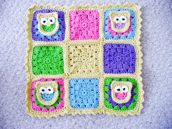 Crochet  Doll Blanket with Owls by ACCrochet on Etsy, $20.00