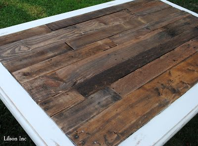 old tile top table to new pallet table. hummmm. i've been wanting to redo mine for forever!