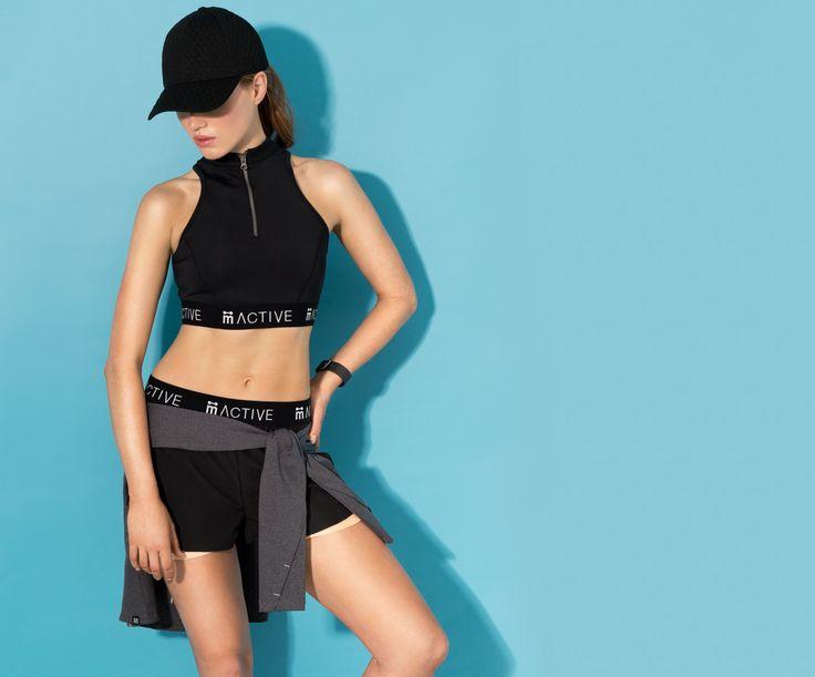 Women's exclusive activewear #neoprene #crop #shorts #layered #black #activewear