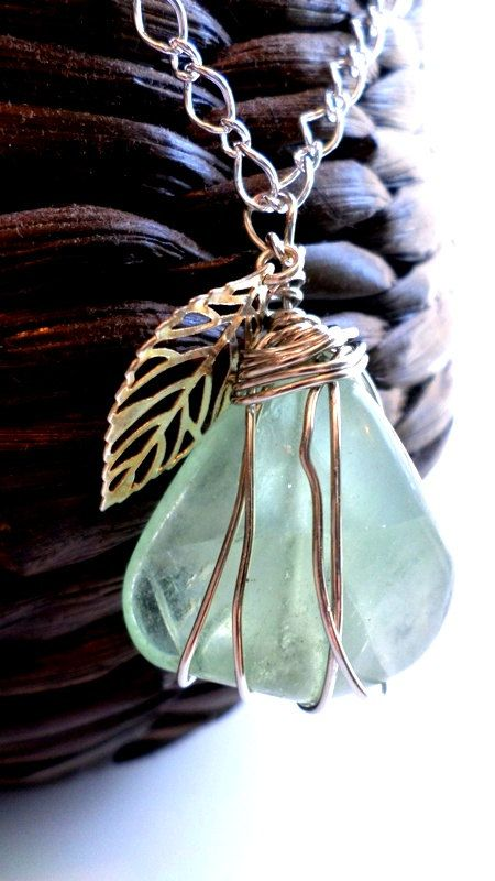 Wire Wrapped Stone Necklace by ShanB32Designs on Etsy, $25.75