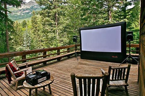 We had an outdoor screening of a film called 'Before the Rain' on our deck here in Sundance, Utah. We used an inflatable movie screen which we acquired from Open Air Cinema, a local company on the other side of the mountain. It was a fantastic evening with friends and the owls in the trees overhead.