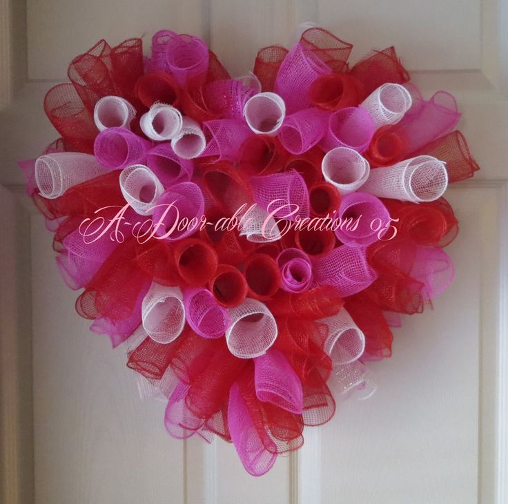 Valentine..Candy Hearts Inspired..Spiral Deco Mesh Wreath. $49.00, via Etsy.