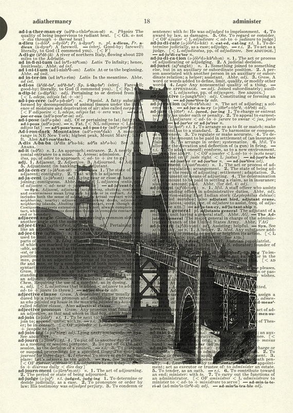 Golden Gate - printed on old page from dictionary. By Jean Cody, United States