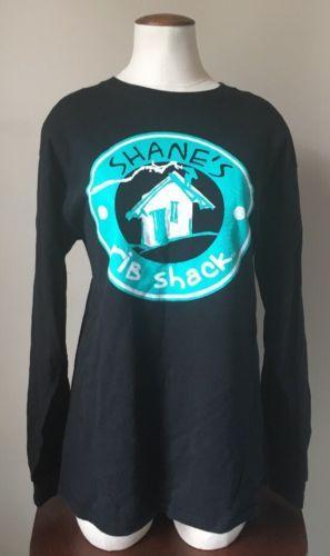 Womens Shanes Rib Shack Crew Uniform BBQ Restaurant Black Blue Shirt Size Medium