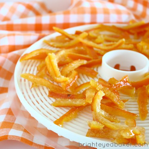 Candied Orange Peel recipe. Alternative recipe: boil peels in syrup for 15 minutes,  let cool in syrup and repeat 4 times. So yummy!