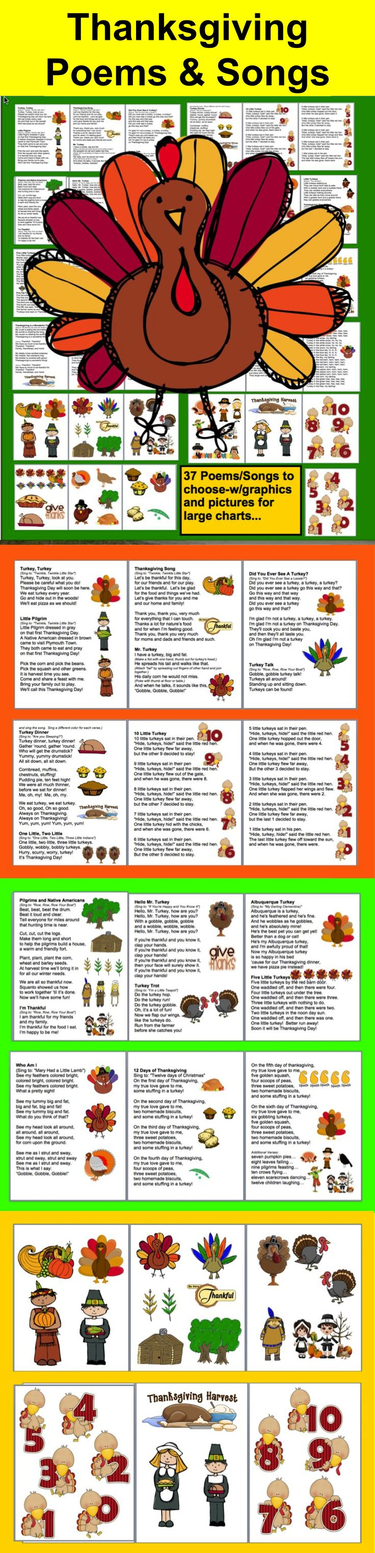 $3.25 Thanksgiving Poems/Songs/Finger Plays and Chants – Shared Reading and Fluency - 36 page file –  All Illustrated with Thanksgiving Graphics- Songs/Poems/Finger Plays and Chants- Prints nicely in color or grayscale- Just choose those you like, and print just those pages.  10 pages of large Thanksgiving images to cut out and  glue onto shared reading charts. Print in color or grayscale.  Sing to familiar tunes, or chant.  Use some or all year after year.