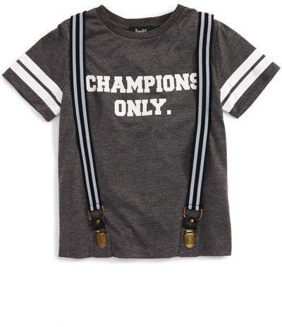 Bardot Junior Champions Only Graphic T-Shirt & Suspenders Set (Toddler Boys, Little Boys & Big Boys)