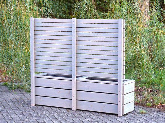 Pflanzkasten Holz Lang M mit Sichtschutz, Länge 172 cm