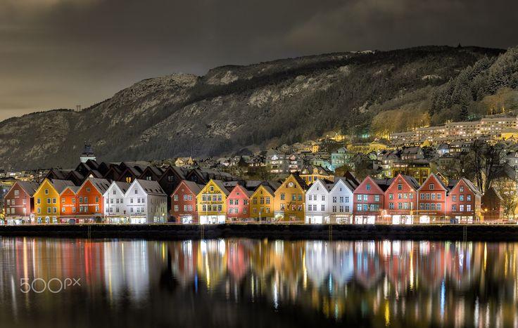 """Bergen Harbor View - Photo of """"Bryggen"""" in Bergen, Norway."""
