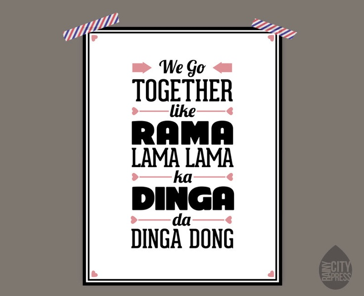 We Go Together - Grease Lyrics Music Typography Poster Print - Anniversary Gift. $9.99, via Etsy.
